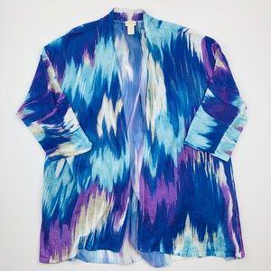 Chicos Open Cardigan 3 16 XL Purple Blue White